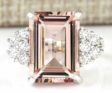 925 Silver Natural Huge 5.5CT Morganite Ring Gemstone Wedding Jewelry Size 6-10