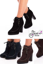 WOMENS LADIES BLOCK HIGH HEEL PLATFORM LACE UP ANKLE BOOTIES SHOES BOOTS SIZE