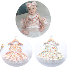 Floral Kids Baby Girls Sleeveless Flower Party Tutu Dress Casual Summer Clothes