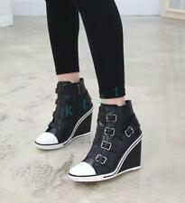 School Womens Increasing Sneakers Buckles Shoes Wedge Heels causal Ankle Boot