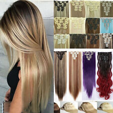 """Real Thick Full Head Clip In Hair Extensions 24"""" Long Straight Wavy Hairpiece op"""