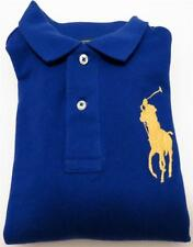New Ralph Lauren Boys Blue Polo Rugby Shirt Yellow Pony Kid Clothes