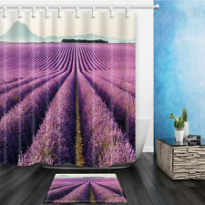 "Lavender Garden Waterproof Fabric Bathroom Mat Shower Curtain Decor Set 72""x72"""