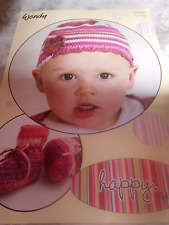 Wendy Crochet Pattern Childrens 4Ply Crochet Hat  Flower Trim Bootees