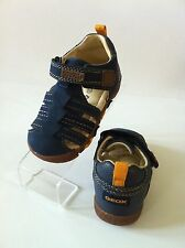 Geox Paco Boys First Walker Closed-Toe Sandal Navy Nubuck Ankle Strap, NEW!