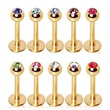 16G & 14G Gold Plated Labret Monroe Cartilage Tragus Earring Stud with Gem Ball