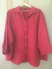 Lauren Ralph Lauren Womens Burnt Sienna Linen 3/4 Sleeve Button Front Shirt SzXL