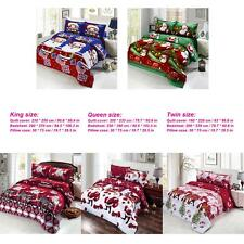 Set of 4 Cotton 3D Printed Bedding Set Bed Sheet Pillowcase King/Queen/Twin U7C3