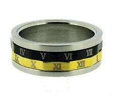 Gold and Black Tone Roman Numerals Stainless Steel Spin Ring 7 - 12
