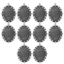 10Pcs Retro Style Round Cameo Cabochon Base Setting Charms Pendants DIY Jewelry