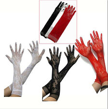 Sexy Stretch Lace Women Length Gloves - Black White Red BF4U Long New Opear/