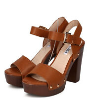 New Women Kayleen Queen-9 PU Open Toe Faux Wooden Platform Chunky Heel Sandal
