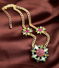 FREE SHIPPING FOR ORDER =$15 gold plated pink/green glass gem 3 flower necklace