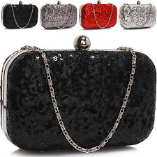 Glitter Sequined Women Clutch Bag Bridal Bridesmaid Ladies Evening Party Prom UK