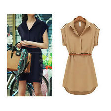 Fashion Women's Lady Girl Chiffon OL Casual Loose Clothes Shirt Dress Top+Belt