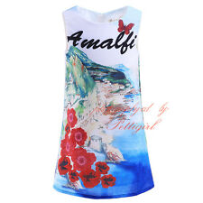 Girls Kids Flower Printed Sleeveless Shift Dress Summer Party Princess Holiday