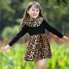 Girls Kids Long Sleeve Black Top Leopard Cotton Dress with Scarf Princess Party