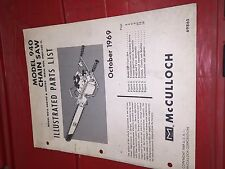 McCulloch Chainsaw ILLUSTRATED PARTS LIST MAC 940 1969 ORIGINAL 2 MAN SAW