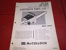 McCulloch Chainsaw 1970 ILLUSTRATED PARTS LIST CP125 ORIGINAL