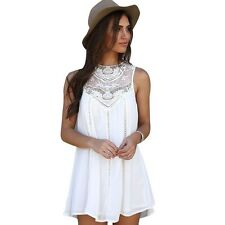 Linen Dress for Women Lace Chiffon Sleeveless Mini Dresses