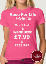 Race For Life Fuchsia Pink Custom Printed Ladies T-shirts Front & Back