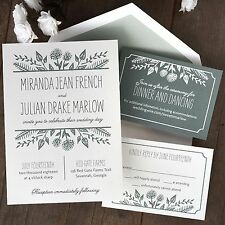 Set of 50 Wedding Invitations with RSVP & Reception Cards  Summer Flora AV4583