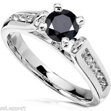 2.8Ct Round Cut Black Diamond Solitaire Band Engagement Ring 14K White Gold Over