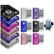 For iPhone 4 4G 4S Flower Luxury Bling Rhinestone Case Cover+Windshield Mount