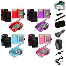 For iPhone 4 4G 4S Color Wallet Leather Folio Pouch Case Cover+8X Accessory