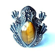 (SIZE 6,7,8,9) FROG RING Tigers Eye Stone Marcasite .925 STERLING SILVER