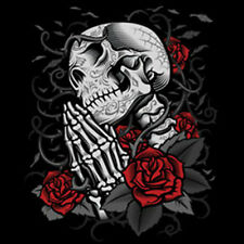 Day Of The Dead Skull Praying Skeleton Roses Gothic Dia Muertos T-Shirt Tee