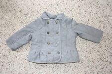 NWT Baby Gap Girls Blue Denim Chambray Double-Breasted Quilted Jacket Sz 12-18M