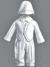 Boys White Christening Suit Baptism Outfit SATIN Silver Trim & Hat Size 3M-24M