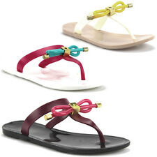 New Womens Fun15 Slip on w/Bow Jelly Thong Sandals Flip Flops Sandals