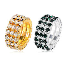Womens Crystal Yellow Gold Filled Stretch Band Ring Jewelry Wholesale Lots