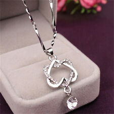 Fashion Knot Silver Plated Heart-shaped Necklace Double Concentric Chain NG