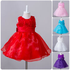 Flower Kids Baby Girls Tutu Dress Formal Wedding Party Christening Baptism Gown
