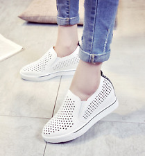 Womens Platform Shoes Sneakers Loafers Slip On Hollow Out Wedge Heels Trainers