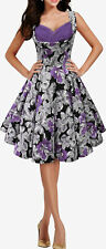 PURPLE FLORAL CLASSIC VINTAGE ROCKABILLY PIN UP WEDDING PROM DRESS SIZE 8-24