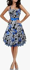 NEW BLUE FLORAL VINTAGE ROCKABILLY PIN UP WEDDING PROM DRESS SIZE 8-24