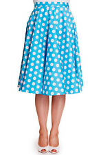 Brand New Vintage Style Aqua Blue Polka Dot Circle Skirt Rockabilly Retro