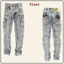 NEW MENS PEVIANI JEANS BLEACH ACID WASH COMBAT JEANS CASUAL TIME IS MONEY