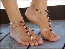 Barefoot Sandals with Anklets Chocolate Pearls & Silver Foot Jewellery 1 pair