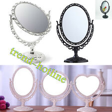 Silver/Pink/Black Vanity Make Up Mirror Double Sided Glass Shaving Free Standing