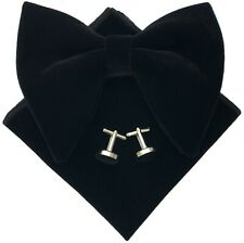 Mens Oversized Velvet Bow Tie Big Bowtie Cufflink Hankie Sets Wedding Party Ties