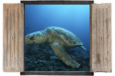 Wall Sticker Window 3D Decal Vinyl Underwater Turtle Sea room decor home art