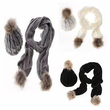 Ladies Woolly Thick Knit Hat Scarf Pom Pom Women's Scarf and Hat Set