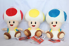 Super Mario Bros Toad Mushroom Plush Nintendo Stuffed Toy Red Blue Yellow NEW