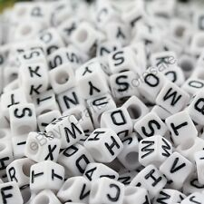 FREE SHIP 100Pcs Acrylic SINGLE LETTER A-Z White Cube ALPHABET Charms BEADS 7MM