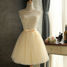 Short Formal Party Dress White/Red/Champagne Bridesmaids Lace Dress Size 2 to 12